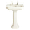 Granley Deco White Basin Standard Two Tap Holes And Tall Pedestal