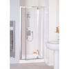 Quality Lakes Reduced Height 900x1750 Semi Framed Bi Fold  Shower Door Silver Designer
