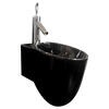 Tixel Black Ceramic Basin Wall Hung Curved and Stylish Bathroom Accessory