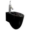 Tixel Black Ceramic Basin Wall Hung Curved and Stylish Bathroom Accessory