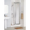 White Framed Bi-fold Door 700 Enclosure Luxurious Stylish Bathroom Accessory